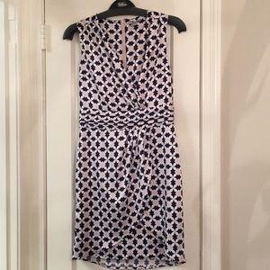 Silky Faux Wrap Dress H&M Geometric Print Sz 8
